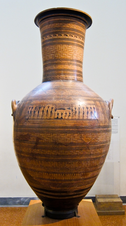 Monumental Attic grave amphora, Kerameikos, Dipylon Painter, Lat