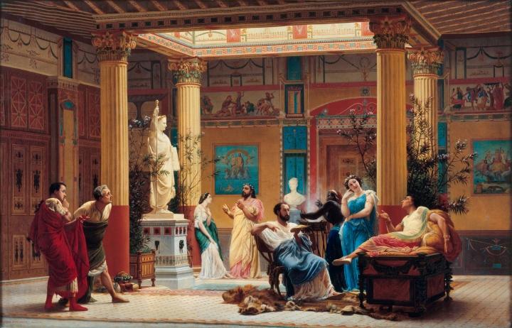 """La RÈpÈtition du """"Joueur de Fl˚te..."""" et de """"la Femme de DiomËde"""" dans l'atrium de la Maison PompÈienne ‡ Paris du Prince NapolÈon en 1860"""