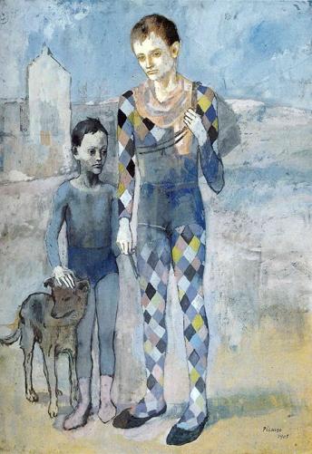 Deux acrobates avec un chien